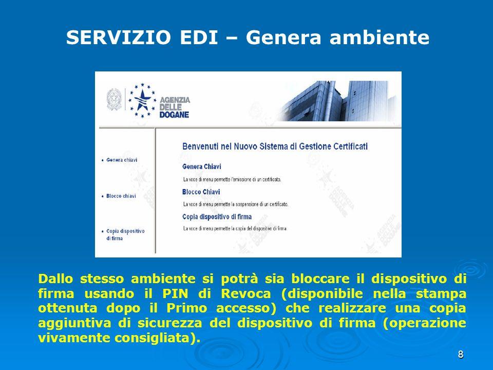 SERVIZIO EDI – Genera ambiente