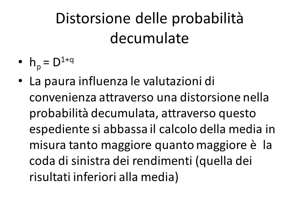 Distorsione delle probabilità decumulate