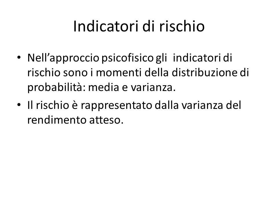 Indicatori di rischio Nell'approccio psicofisico gli indicatori di rischio sono i momenti della distribuzione di probabilità: media e varianza.