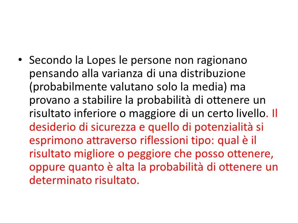 Secondo la Lopes le persone non ragionano pensando alla varianza di una distribuzione (probabilmente valutano solo la media) ma provano a stabilire la probabilità di ottenere un risultato inferiore o maggiore di un certo livello.