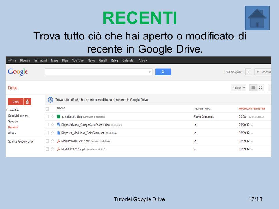 RECENTI Trova tutto ciò che hai aperto o modificato di recente in Google Drive.