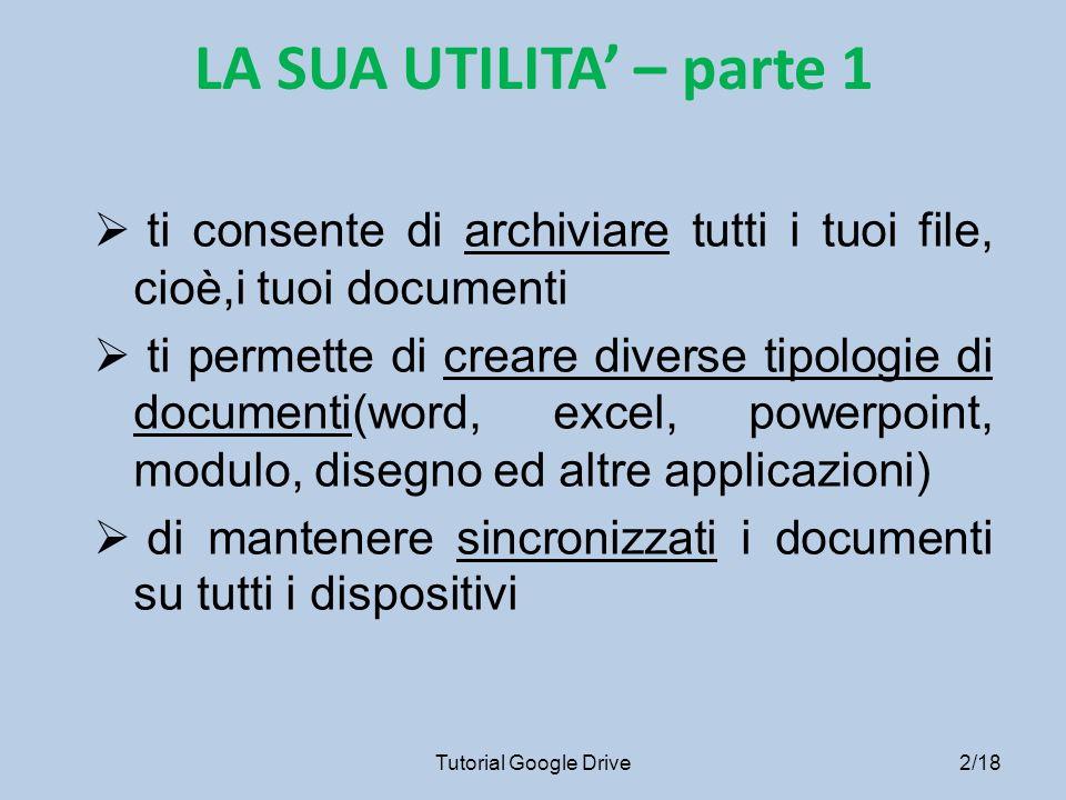 LA SUA UTILITA' – parte 1 ti consente di archiviare tutti i tuoi file, cioè,i tuoi documenti.