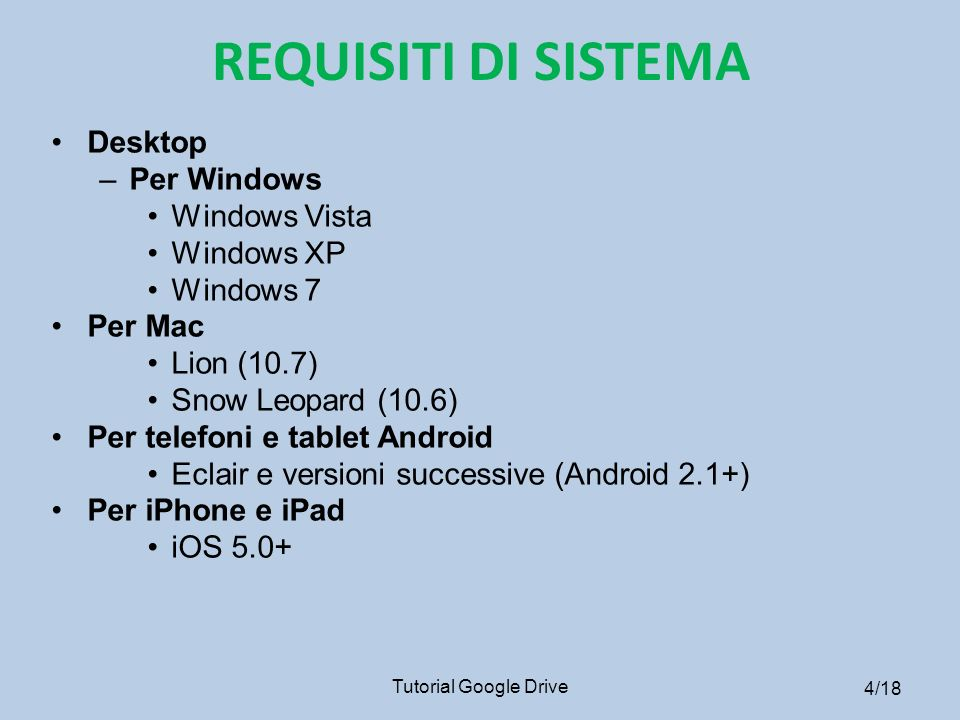 REQUISITI DI SISTEMA Desktop Per Windows Windows Vista Windows XP