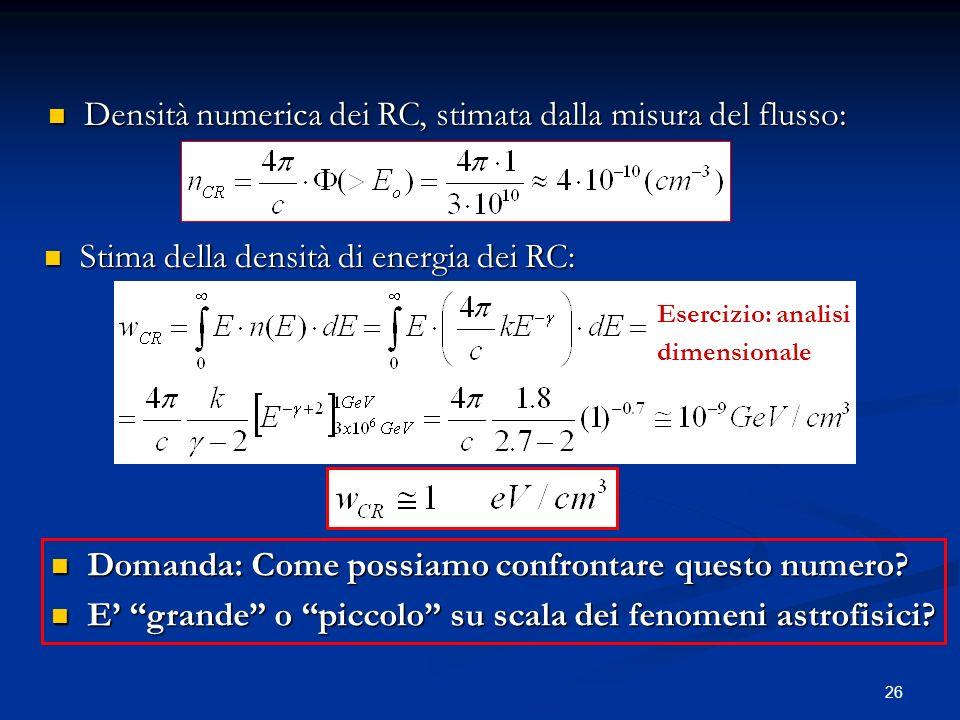 Densità numerica dei RC, stimata dalla misura del flusso: