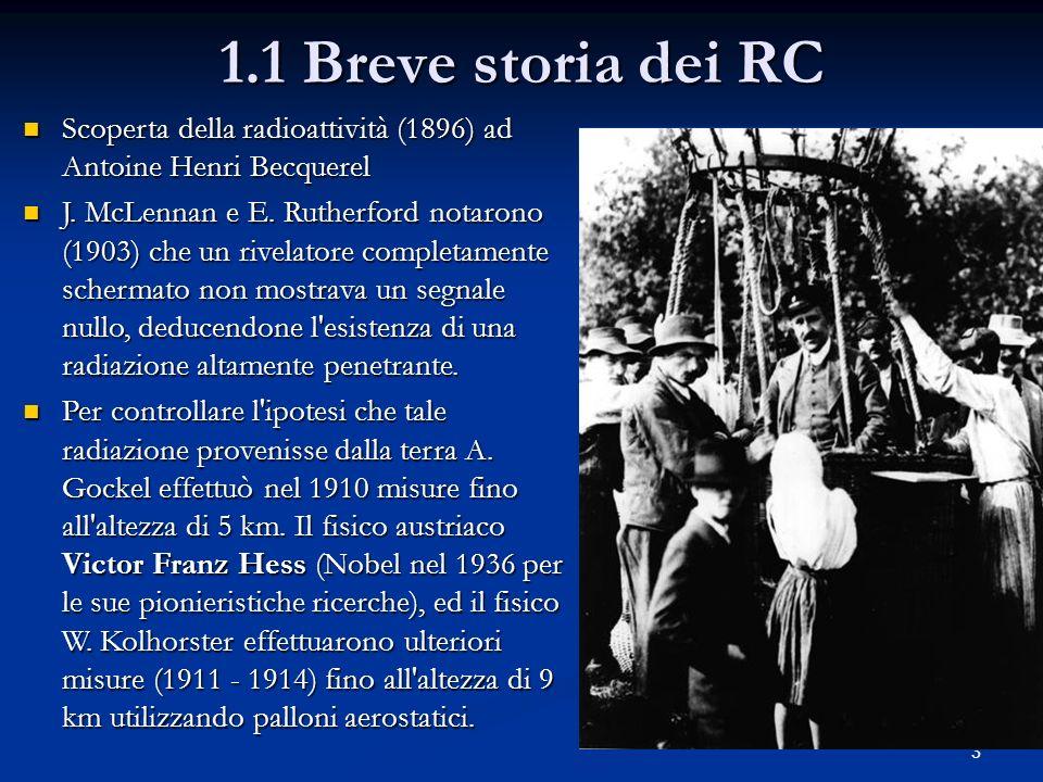 1.1 Breve storia dei RC Scoperta della radioattività (1896) ad Antoine Henri Becquerel.