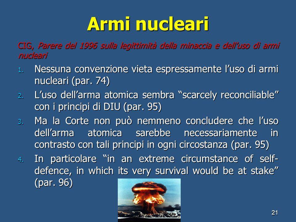 Armi nucleariCIG, Parere del 1996 sulla legittimità della minaccia e dell'uso di armi nucleari.