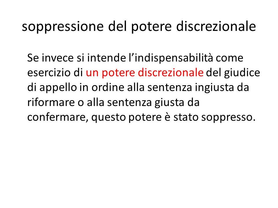 soppressione del potere discrezionale