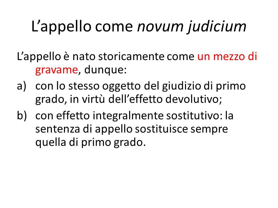 L'appello come novum judicium