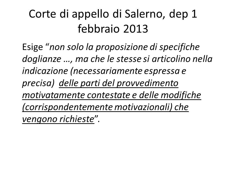 Corte di appello di Salerno, dep 1 febbraio 2013
