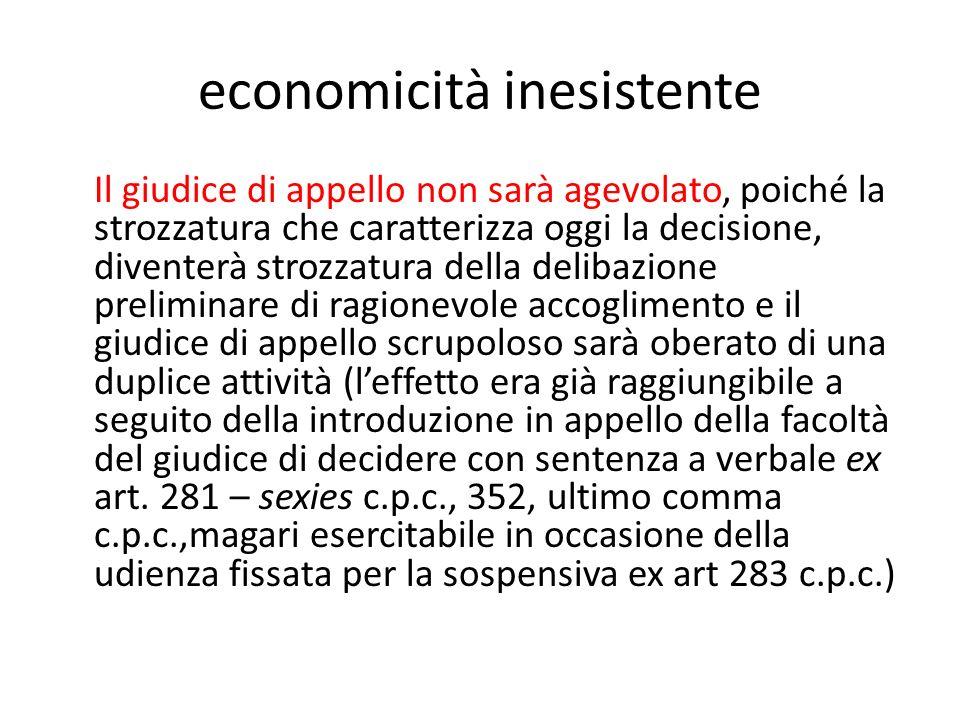 economicità inesistente