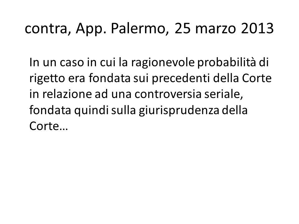 contra, App. Palermo, 25 marzo 2013