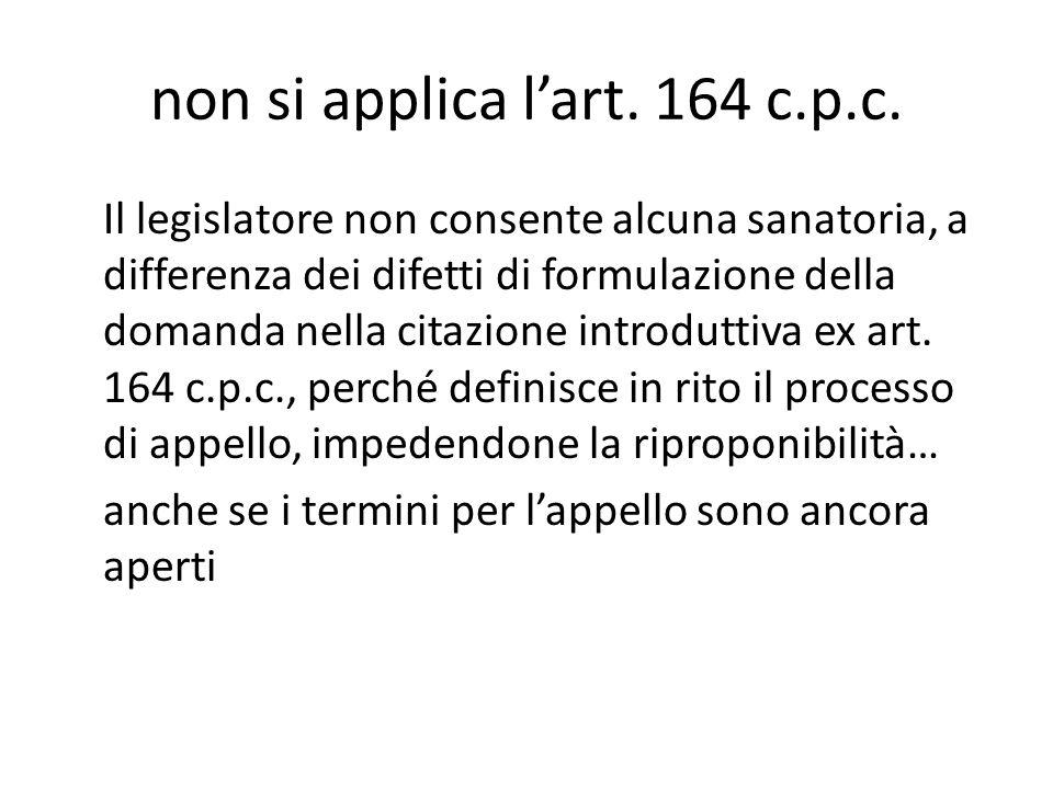 non si applica l'art. 164 c.p.c.