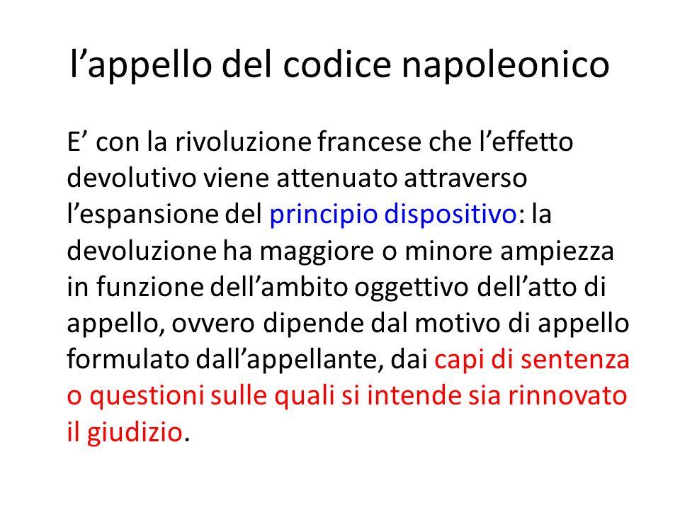 l'appello del codice napoleonico