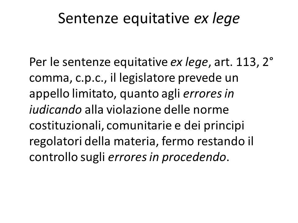 Sentenze equitative ex lege