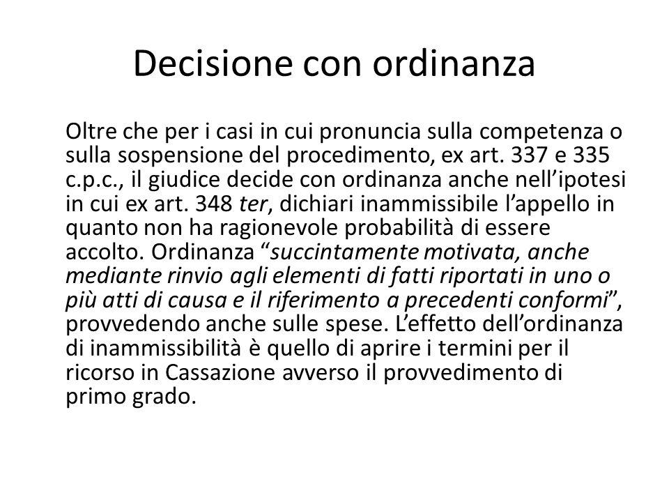 Decisione con ordinanza