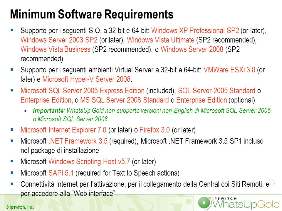 Minimum Software Requirements