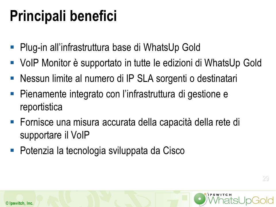 Principali benefici Plug-in all'infrastruttura base di WhatsUp Gold