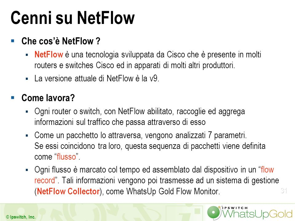 Cenni su NetFlow Che cos'è NetFlow Come lavora