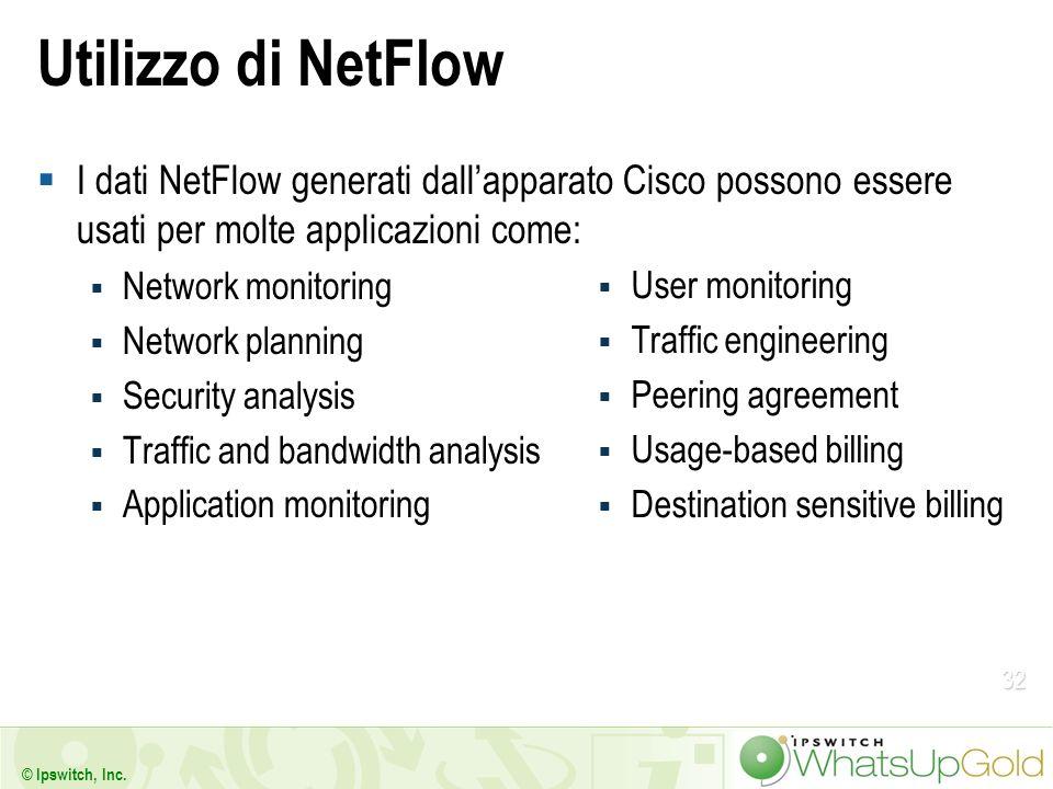Utilizzo di NetFlow I dati NetFlow generati dall'apparato Cisco possono essere usati per molte applicazioni come: