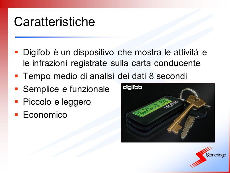 Caratteristiche Digifob è un dispositivo che mostra le attività e le infrazioni registrate sulla carta conducente.
