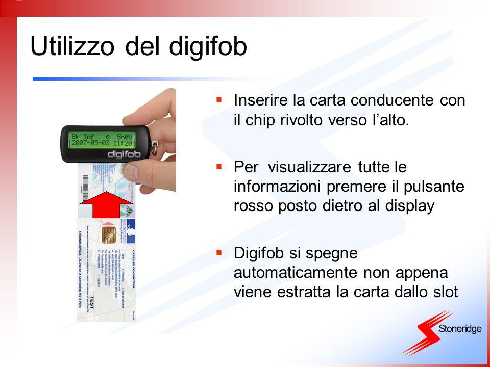 Utilizzo del digifob Inserire la carta conducente con il chip rivolto verso l'alto.