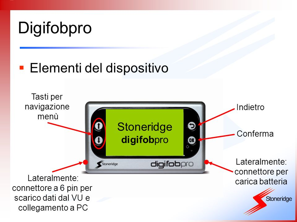 Digifobpro Elementi del dispositivo Stoneridge digifobpro Tasti per