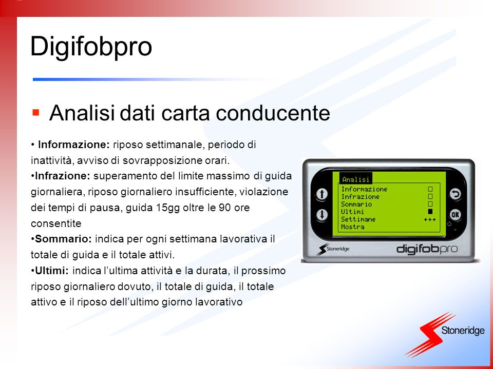 Digifobpro Analisi dati carta conducente