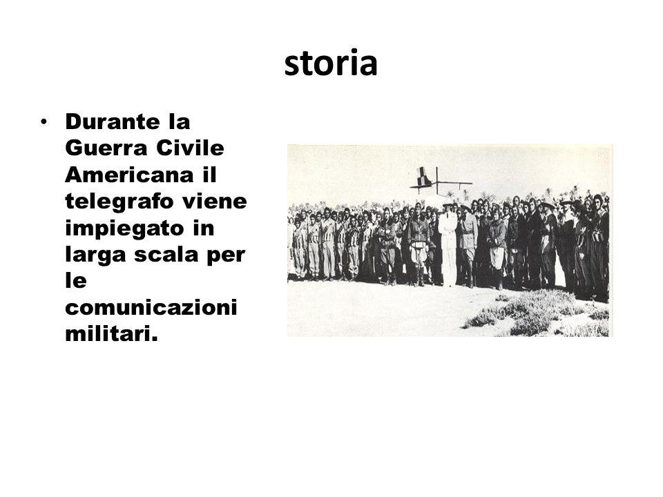storia Durante la Guerra Civile Americana il telegrafo viene impiegato in larga scala per le comunicazioni militari.