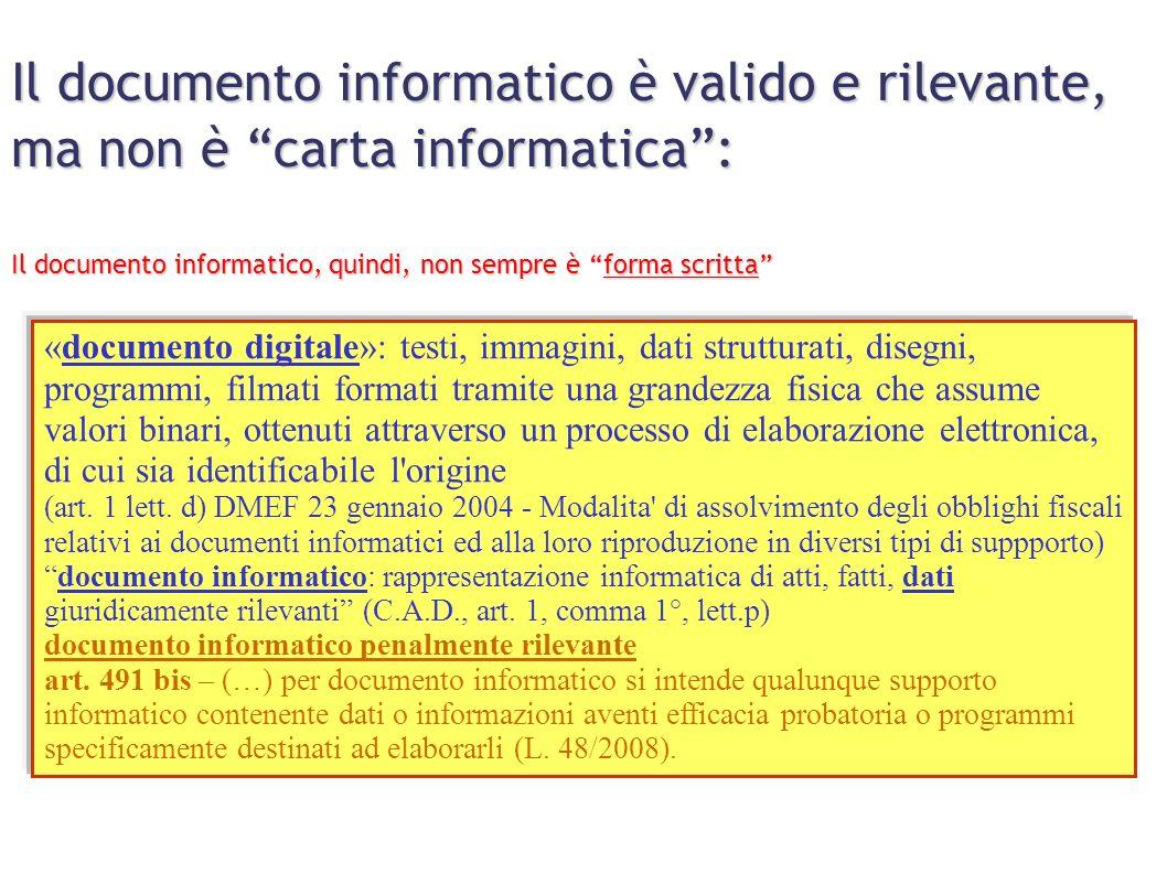 Il documento informatico è valido e rilevante, ma non è carta informatica :