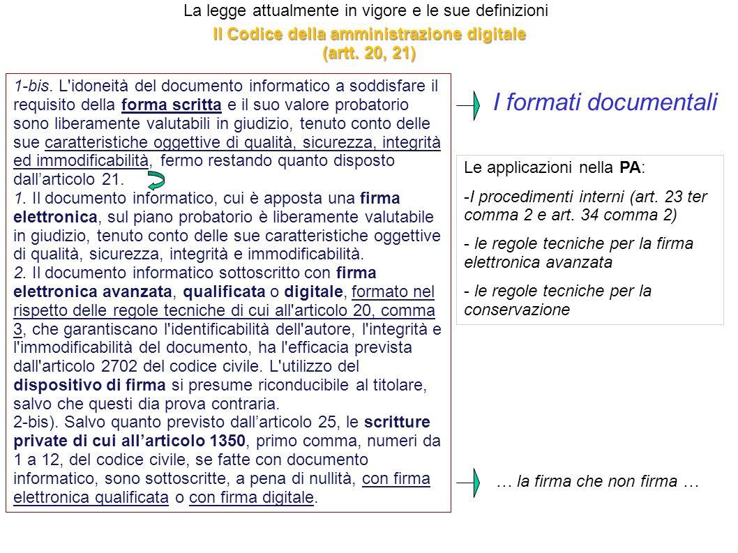 Il Codice della amministrazione digitale (artt. 20, 21)
