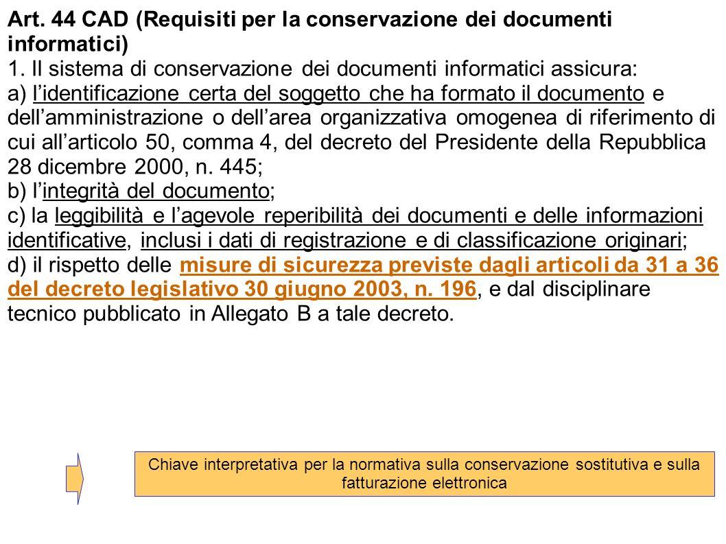 Art. 44 CAD (Requisiti per la conservazione dei documenti informatici)