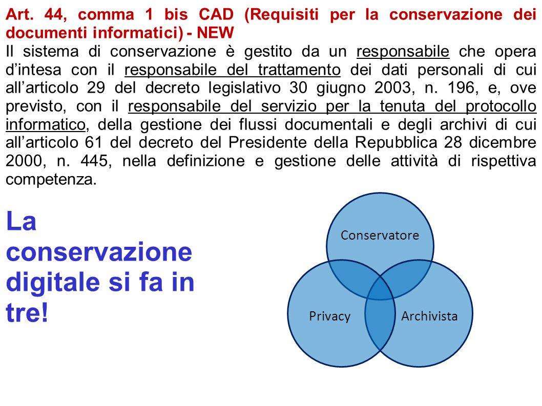 La conservazione digitale si fa in tre!