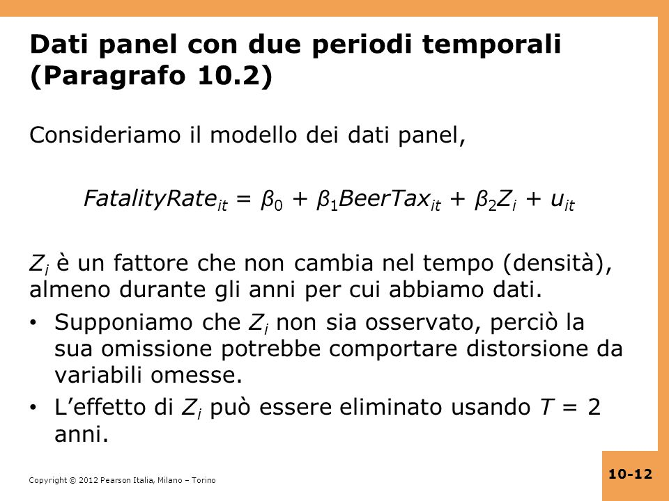 Dati panel con due periodi temporali (Paragrafo 10.2)