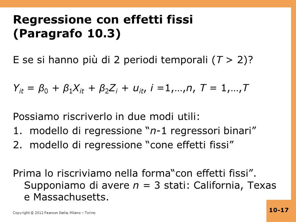 Regressione con effetti fissi (Paragrafo 10.3)