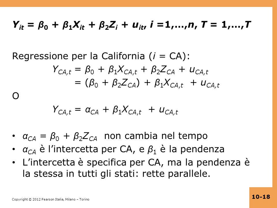 Yit = β0 + β1Xit + β2Zi + uit, i =1,…,n, T = 1,…,T