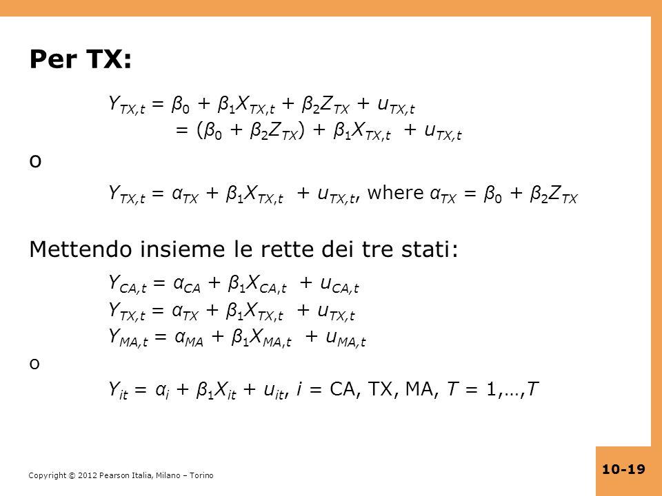 Per TX: o YTX,t = αTX + β1XTX,t + uTX,t, where αTX = β0 + β2ZTX