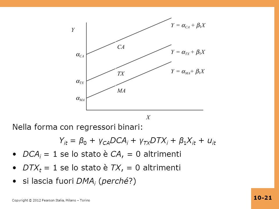 Yit = β0 + γCADCAi + γTXDTXi + β1Xit + uit