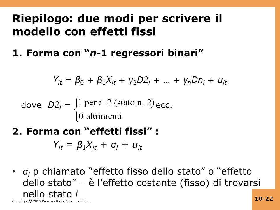 Riepilogo: due modi per scrivere il modello con effetti fissi
