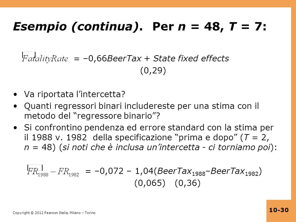 Esempio (continua). Per n = 48, T = 7: