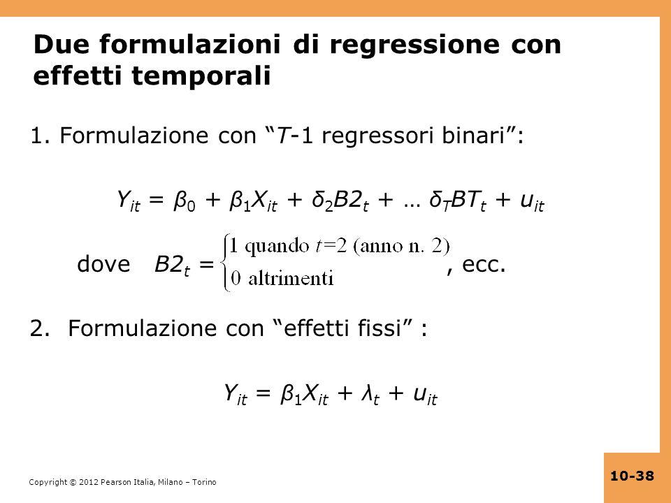 Due formulazioni di regressione con effetti temporali