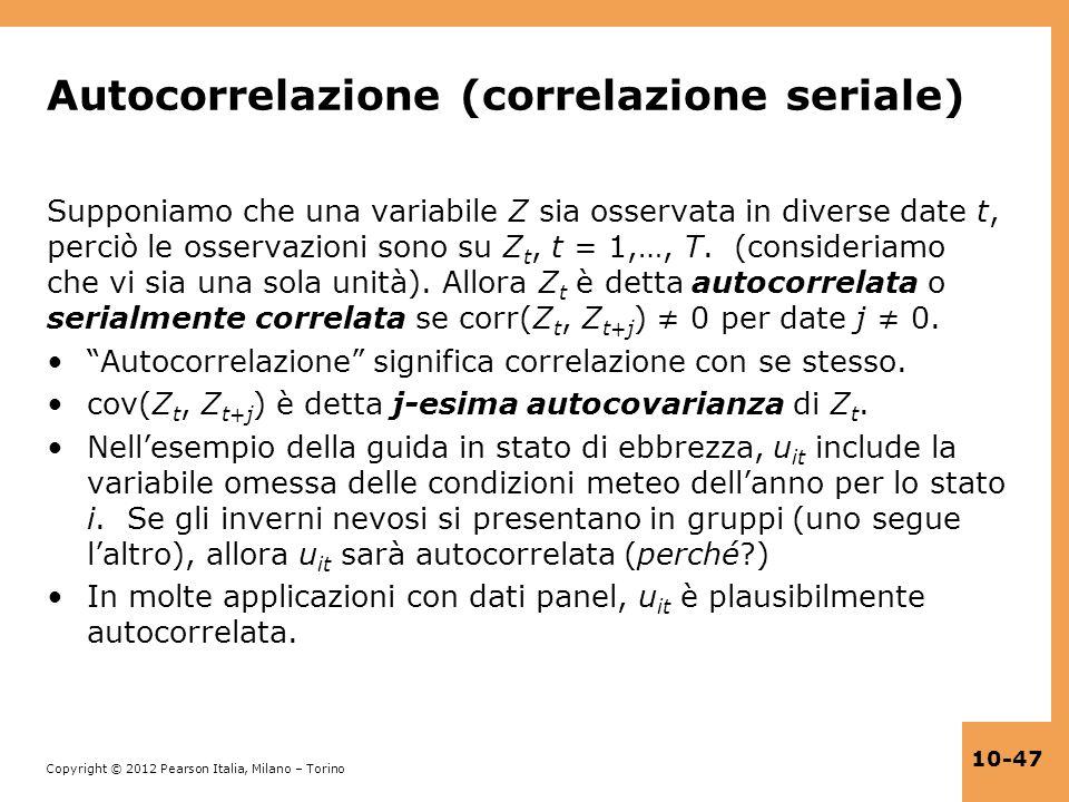 Autocorrelazione (correlazione seriale)