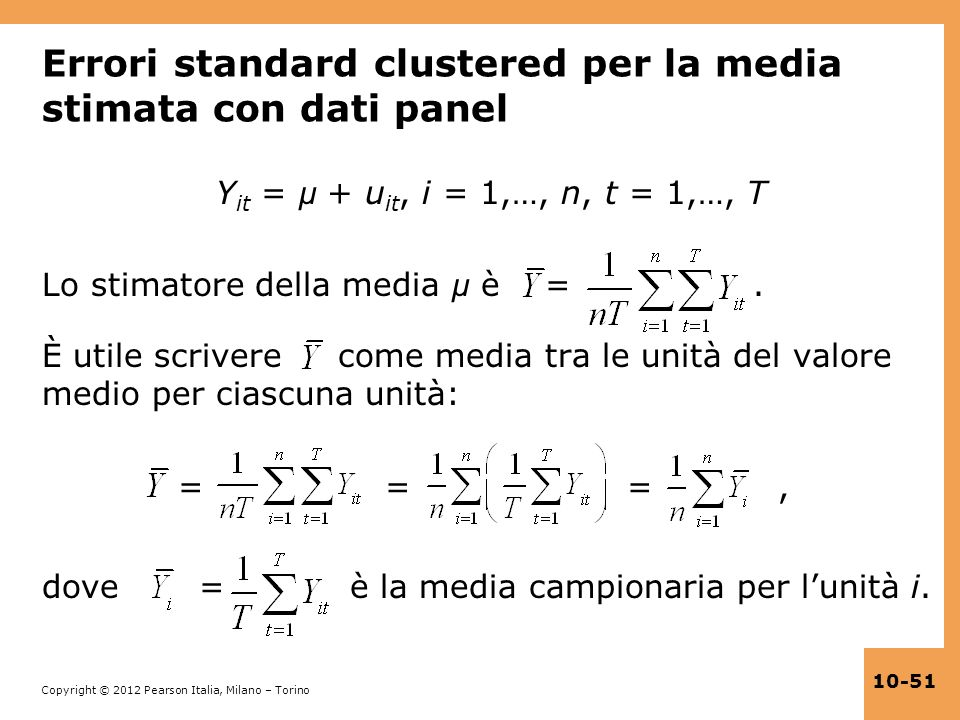 Errori standard clustered per la media stimata con dati panel