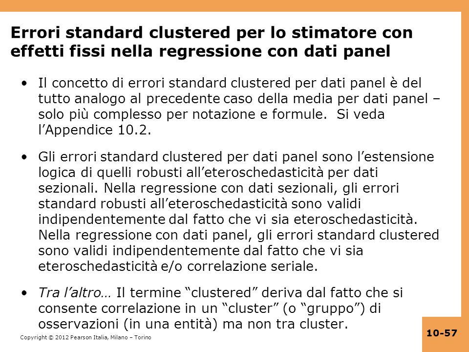 Errori standard clustered per lo stimatore con effetti fissi nella regressione con dati panel