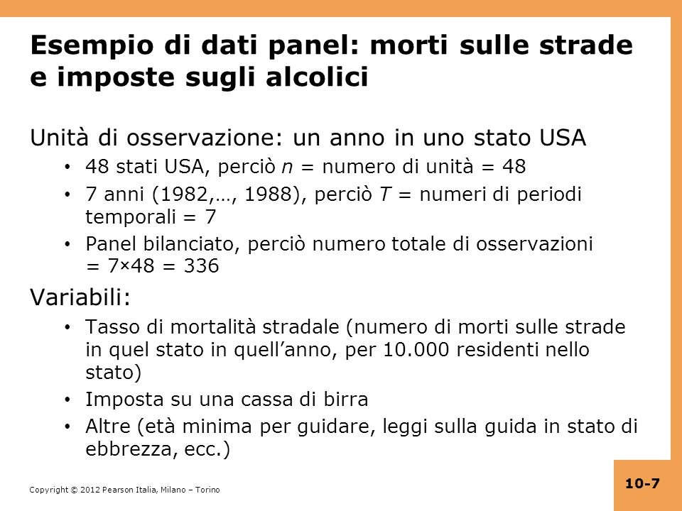 Esempio di dati panel: morti sulle strade e imposte sugli alcolici