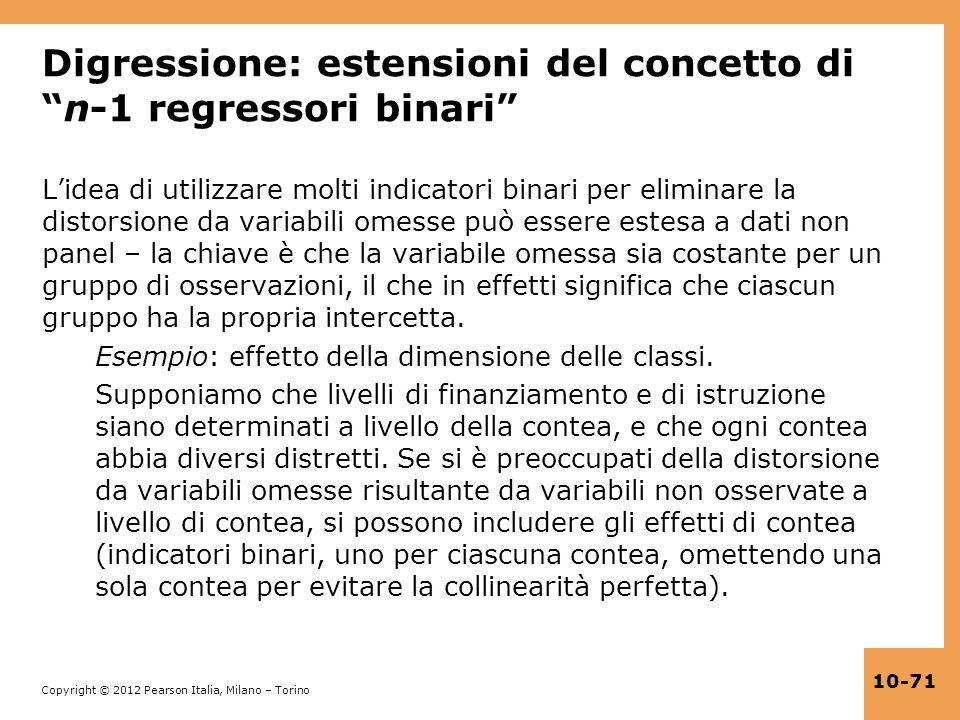 Digressione: estensioni del concetto di n-1 regressori binari