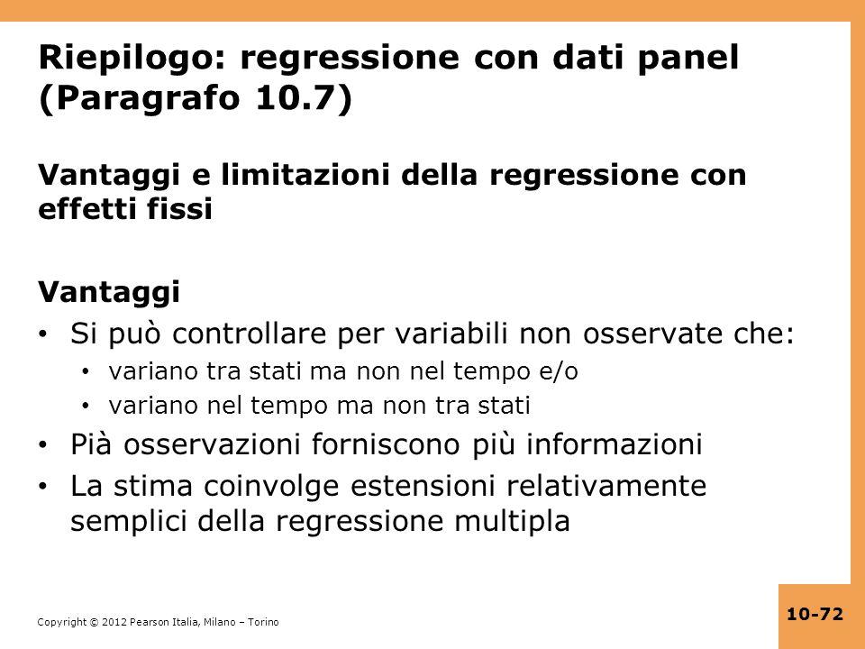 Riepilogo: regressione con dati panel (Paragrafo 10.7)