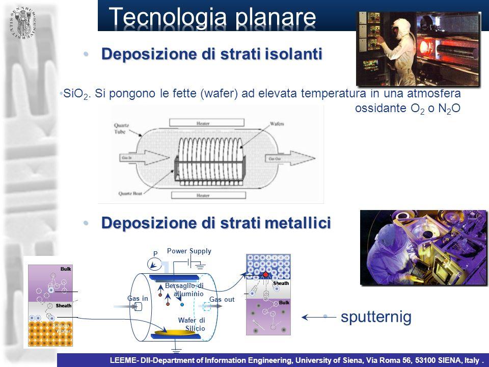 Tecnologia planare Deposizione di strati isolanti