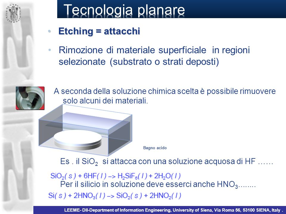 Tecnologia planare Etching = attacchi