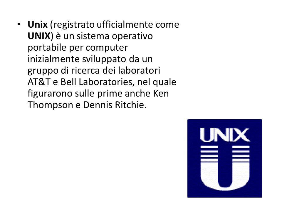 Unix (registrato ufficialmente come UNIX) è un sistema operativo portabile per computer inizialmente sviluppato da un gruppo di ricerca dei laboratori AT&T e Bell Laboratories, nel quale figurarono sulle prime anche Ken Thompson e Dennis Ritchie.