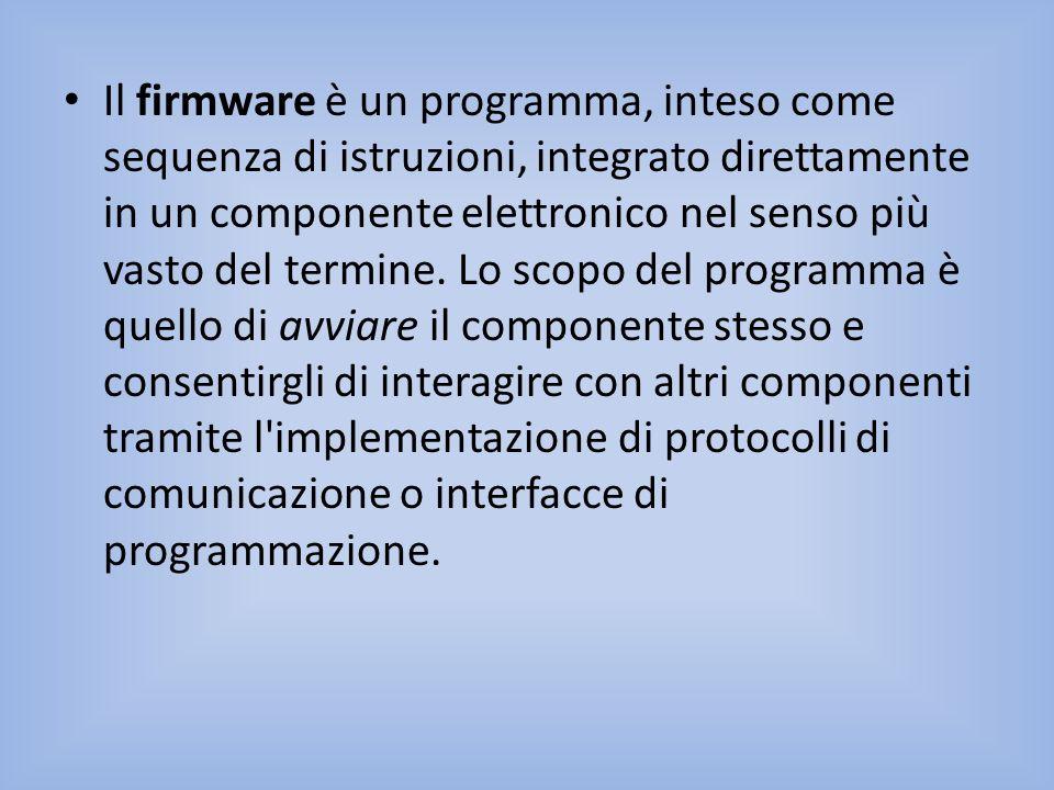 Il firmware è un programma, inteso come sequenza di istruzioni, integrato direttamente in un componente elettronico nel senso più vasto del termine.